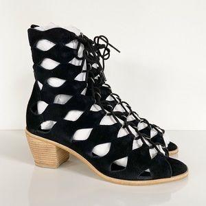 Matisse Jester Lace-Up Sandal Heel Black Suede